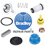 Bradley S24-202, Plastic Showerhead, White Steel in-ceiling recessed shroud assembly, ring, coupling and 1'' diameter 90 Degrees elbow