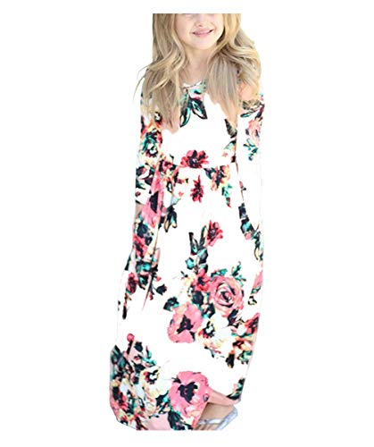 Fashspo Girl's 3/4 Sleeve Floral Printed Empire Waist Spring Autumn Long Maxi Dress with Pockets, White,8-9 Years ()