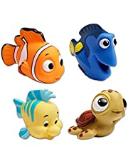 Disney Finding Dory and The Little Mermaid Bath Squirters for Toddlers, Kids ~ 4 Bath Squirt Toys for Boys and Girls Featuring Dory, Nemo, Squirt, and Flounder (Finding Dory Bathroom Accessories)