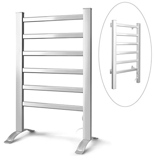 INNOKA 2-in-1 Freestanding & Wall Mounted Heated Towel Warmer & Drying Rack (UL Certified), 6 Bars & Aluminum - Towel Warmer Mounted Floor