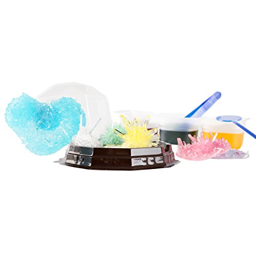 Hey! Play! Crystal Growing Kit for Kids with 6 Color Options and Display Cases- Science Lab Experiment Set for Learning STEM, Geology, Chemistry
