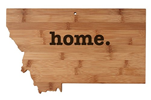 (Montana State Shaped Bamboo Wood Cutting Board Engraved home. Personalized For New Family Home Housewarming Wedding Moving Gift)