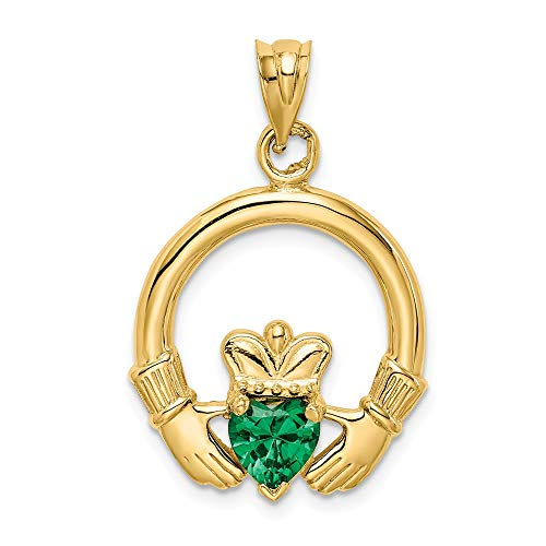 14k Yellow Gold Irish Claddagh Celtic Knot Synthetic Green Stone Pendant Charm Necklace Fine Jewelry Gifts For Women For Her ()