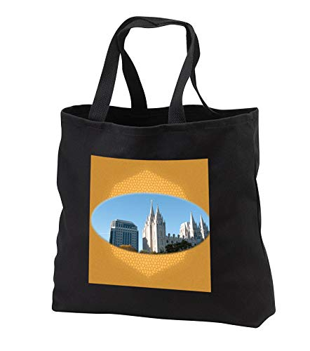 Jos Fauxtographee- Salt Lake City Temple Art - The beautiful Salt Lake City Temple for LDS Church on gold design - Tote Bags - Black Tote Bag JUMBO 20w x 15h x 5d (tb_291356_3) by 3dRose