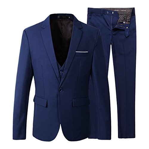 Benibos Men's Slim Fit Suit Blazer Jacket Tux Vest Pants 3 Pieces Suit Set (L, Navy)