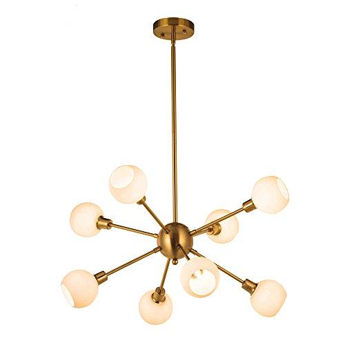 Sputnik Chandelier Lighting 8 Light Modern Opal Glass Globe G9 40W (Bulbs Included)Pendant Light Mid-Century Ceiling Light Fixture Brushed Brass By (Glass Modern Globe)