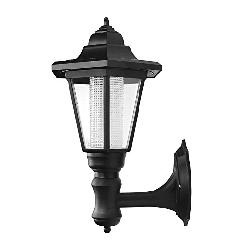 Powstro Solar Powered Wall Lantern Light Lamp Outdoor Garden Weatherproof LED Wall Lamp Hexagonal Light Lamp Exterior Sconce Lantern Lamp for Outdoor Landscape Garden Fence Yard - Garden Lantern Top Mount Wall