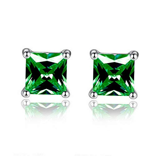 Dokis Fashion Women Elegant Silver Plated Square Cubic Zircon Charm Stud Earrings | Model ERRNGS - 15722 | 6mm