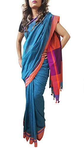 Mehrunnisa Handloom Pure Cotton Sarees with Blouse Piece from Bengal (Turquoise)