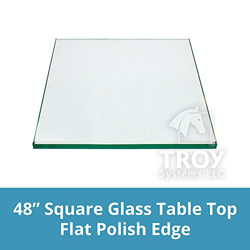 TroySys Square Glass Table Top 48 Inch Custom Annealed Clear Tempered, ¼ Thick Glass with Flat Polished Edge & Radius Corner for Dining Table, Coffee Table, Home & Office Use by TroySys