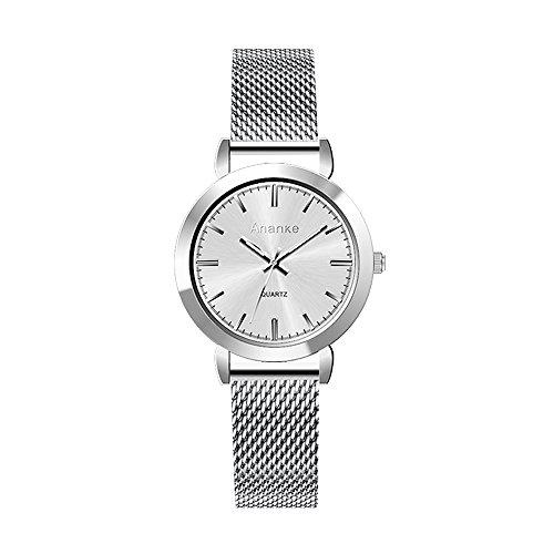 Ananke Women Silver Stainless Steel Mesh Quartz Watch Waterproof Girls Slim Minimalist Analog Petite Ladies Petite Wristwatches from Ananke