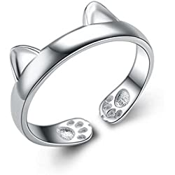 S&E Women's Cute Sterling Silver Dragon Cat Opening Mouth Ring, Simple Wedding Finger Rings