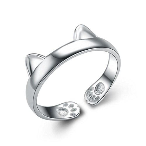 S&E Women's 925 Sterling Silver Rings Simple Cute Cat Design Opening Finger Ring (Dragon - Silver Cat The