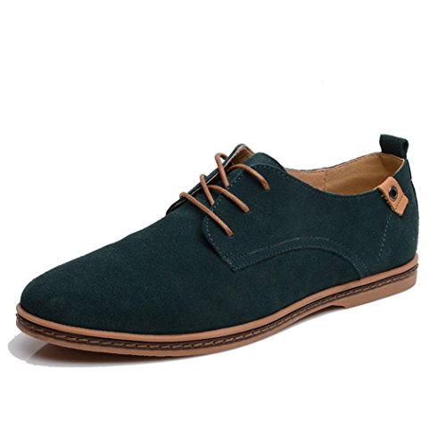 Feng Mens lace up leather Board shoes Green B11Um7j