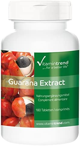 Guarana Extrakt 300mg - 180 Tabletten - ! FÜR 6 MONATE ! - vegan - 4-fach konzentriert