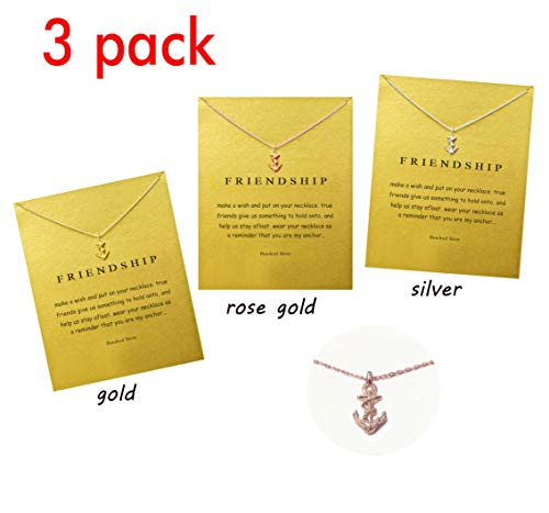 Hundred River Friendship Clover Necklace Unicorn Good Luck Elephant Necklace with Message Card Gift Card(2&3pack) (Anchor 3)