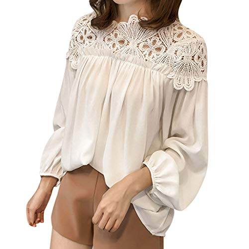 Dainzuy Blouse for Women,Ladies Casual Lace Splice Top Blouses Long Sleeve Crewneck Ruched Loose T-Shirt Tops White
