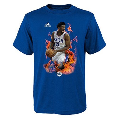 adidas NBA All-Star Youth Fired Up Graphic T-Shirt, Size Medium (10/12), Royal, Joel Embiid'