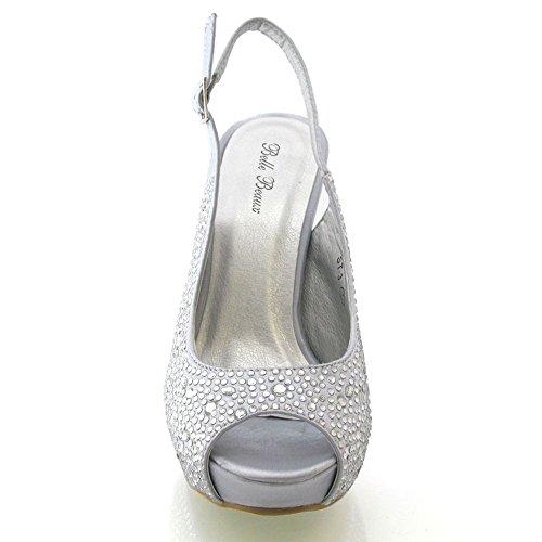 Onlineshoe Señoras Mujeres Peep Toe Zapatos de novia de la boda - lazo de satén - Satén Marfil Satén plateado
