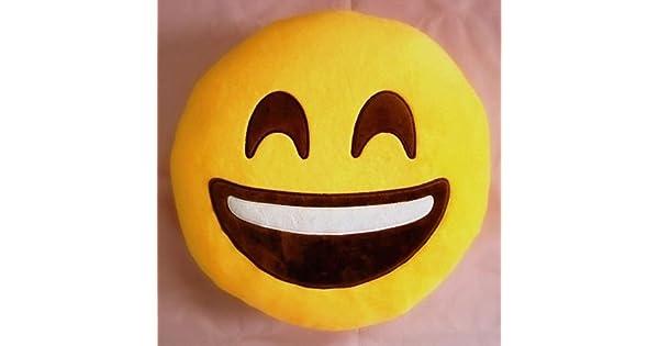 Amazon.com: Lindo Emoji Emoticono Amarillo Cojín redondo ...