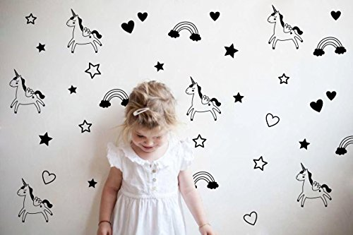 Unicorn Rainbow Star Heart Wall Decal,Removable Vinyl Wall Stickers For Baby Kids Boys Girls Bedroom Nursery Decor(A13) (Black)
