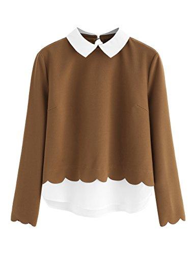 Contrast Collar Shirt (Floerns Women's Contrast Collar Hem Long Sleeve Blouse Top Coffee S)