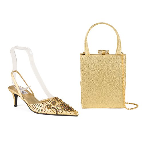 FARFALLA Luxury Matching Shoes and Bag Gold