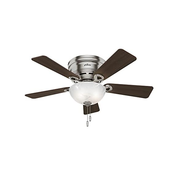 Hunter Fan Company Haskell Ceiling Fan with Light 1 WhisperWind motor delivers ultra-powerful air movement with whisper-quiet performance so you get the cooling power you want without the noise you don't Reversible motor allows you to change the direction of your fan from downdraft mode during the summer to updraft mode during the winter 5 Eurasian Wood / Maple Reversible blades included