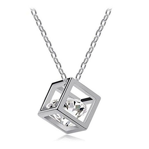 TOPUNDER Women Chain Crystal Rhinestone Square Pendant Alloy Necklace Jewelry
