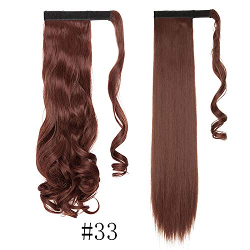 17''23'' Long Wavy Clip In Hair Tail False Hair Ponytail Hairpiece With Hairpins Synthetic Hair Ponytail Hair Extension 33- Wavy-17inch