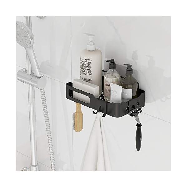 41dprQYCjlL Duschkorb Duschregal schwarz Duschablage ohne Bohren, selbstklebend mit Haken aus Edelstahl Metall als Duschhalterung…