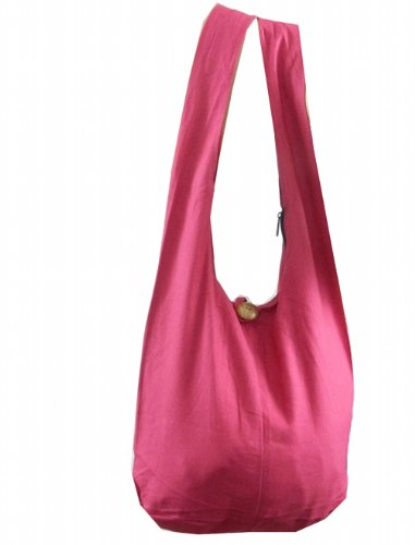 BTP! Thai Monk Buddha Cotton Sling Crossbody Messenger Bag Shlouder Purse Hippie Hobo Medium M2 (Pink M12)