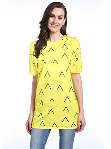 Loveternal Women's Casual Festival Halloween Party Yellow Pineapple Print Short Bat Sleeve T-Shirt Loose Tops Dress
