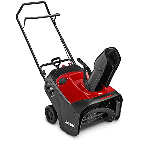 Electric start snow blower in red and black.