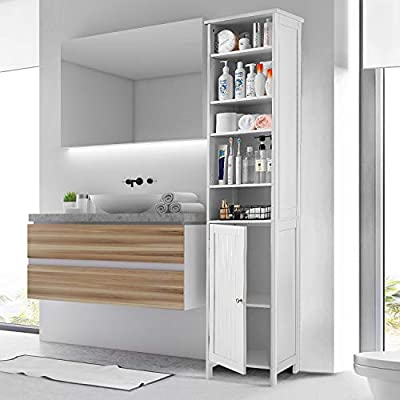 Tall Bathroom Cabinet Kealive Freestanding Linen Tower Storage Cabinet with 4 Adjustable Shelves, Wood, Elegant and Spacesaver White 15.8L x 13.4W x 72H