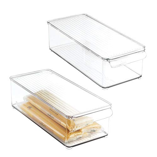 mDesign Plastic Food Storage Container Bin with Lid and Handle for Kitchen, Pantry, Cabinet, Fridge, Freezer - Organizer for Snacks, Produce, Vegetables, Pasta - 2 Pack - Clear