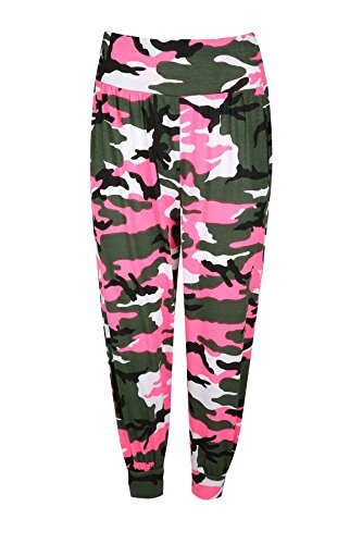 Oops Outlet Women's Floral 3/4 Harem Leggings Cropped Ali Baba Pants US 4-22 S/M (US 4/6) Neon Pink Army -