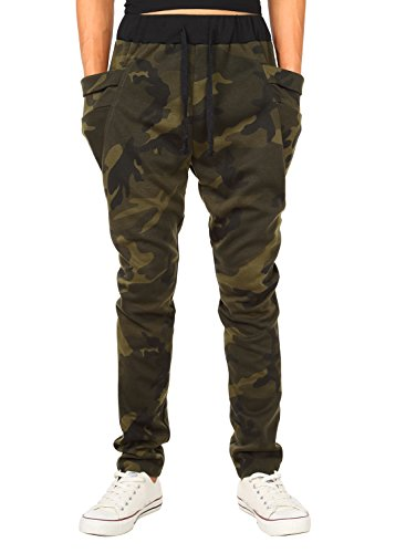 HEMOON Mens Jogging Pants Tracksuit Bottoms Training Running Trousers Camouflage L (Camouflage Trouser)