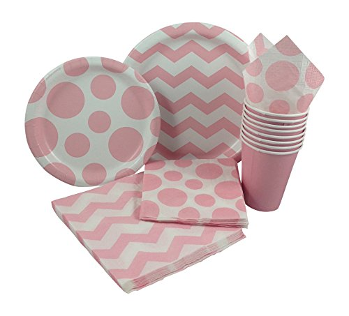 Pastel-Pink-White-Chevron-Dot-Party-Supply-Pack-Bundle-Includes-Paper-Plates-Napkins-Cups-for-8-Guests
