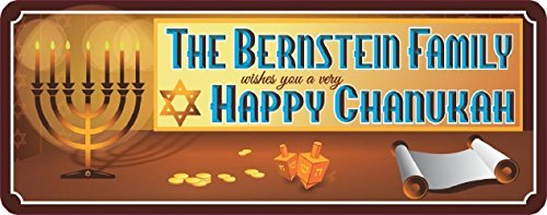 Gold Coin Plaque (Happy Chanukah Personalized Holiday Sign with Scroll, Dreidels, Menorah & Gold Coins)