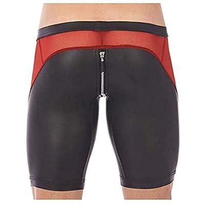 YiZYiF Men's Tights Leather Jammer Pants Bikini Mesh Splice Zipper Pouch Underwear