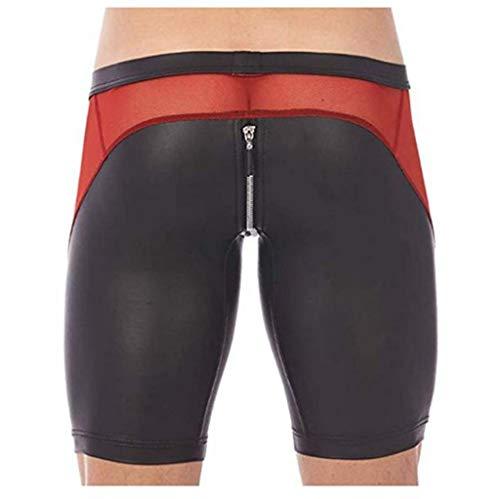 YiZYiF Men's Tights Leather Jammer Pants Bikini Mesh Splice Zipper Pouch Underwear Black Large -