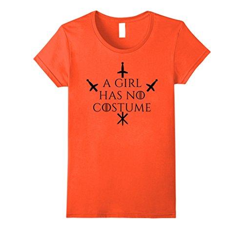 Womens A Girl Has No Costume T-Shirt No Name Funny Halloween Joke Large (Funny Halloween Birthday Jokes)