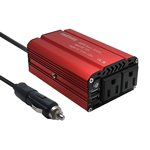Car Power Inverter 400W, Auto Inverter DC 12 volt to 110v, DC to AC Converter for Car Battery, Modified Sine Wave Inverter 400W for Car with 2 AC Outlets & 4.8A Dual USB Charging Ports