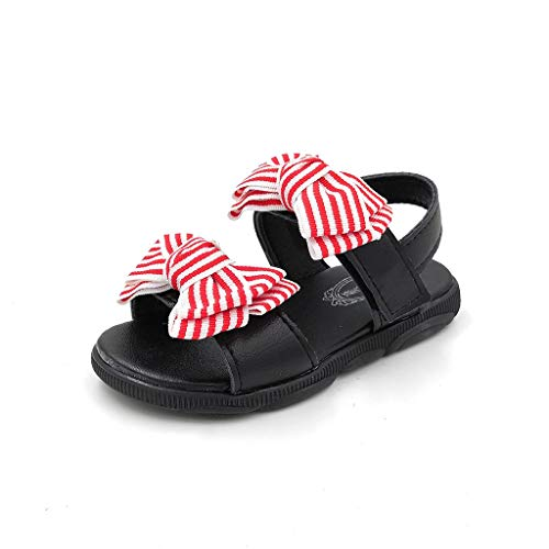 (RDTIAN 1-6 Years Baby Childen Shoes Girls Stried Bowknot Sport Sneakers Princess Beach Sandals Black)