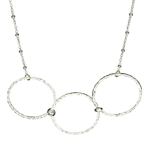 Sterling Silver Flat Hammered Circle Large Links Necklace Italy