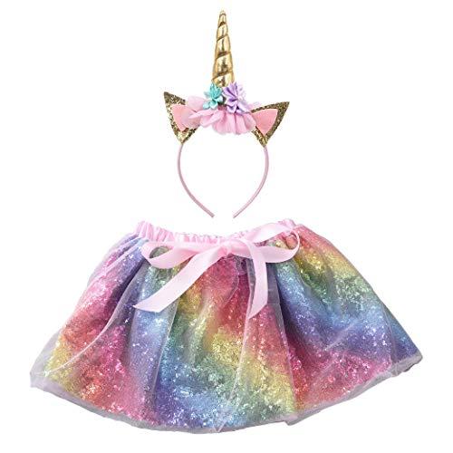 Girls Sequin Rainbow Layered Tulle Tutu Skirt Unicorn Headband (M/L)