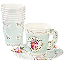 Talking Tables Tea Party Vintage Floral Tea Cups and Saucer Sets | Truly Scrumptious | Also Great For Birthday Party, Baby Shower,and Wedding | Paper, 12 Count