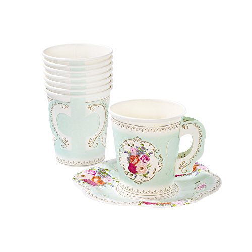 Talking Tables TS6-CUPSET Disposable Truly Scrumptious Party Vintage Floral Tea Cups and Saucer Sets, Mint Green -