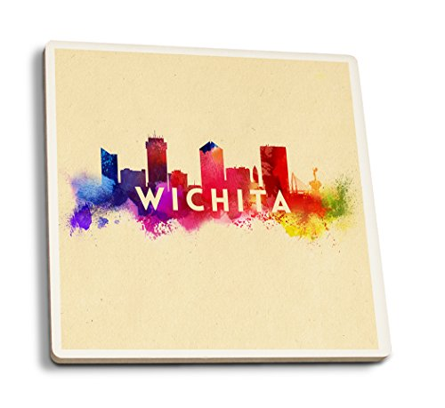 Lantern Press Wichita, Kansas - Skyline Abstract (Set of 4 Ceramic Coasters - Cork-Backed, Absorbent) ()